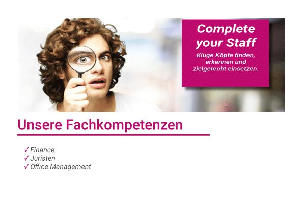 Fachkompetenz: Finance, Juristen, Office Management