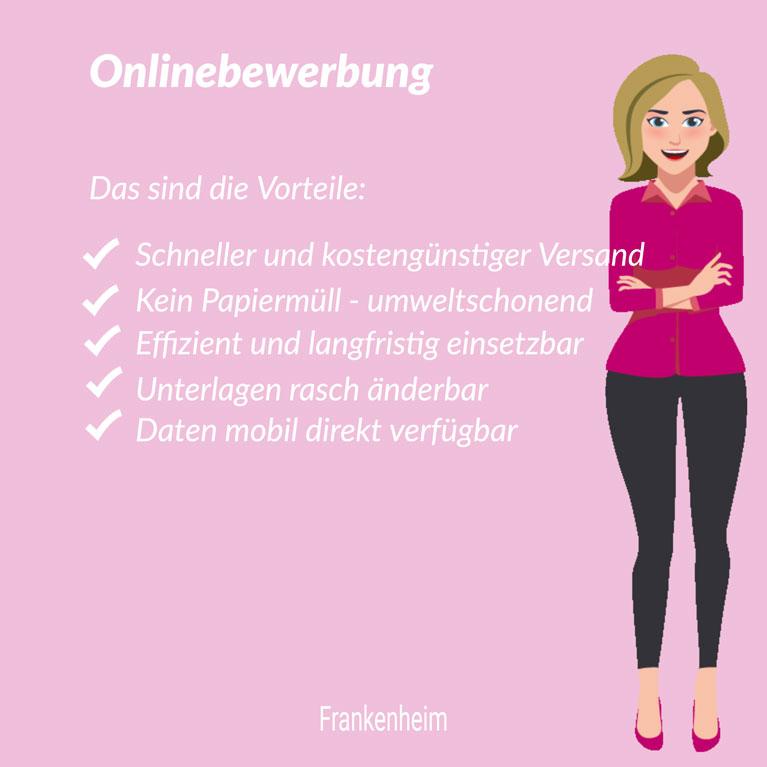 Onlinebewerbung - das sind die Vorteile, Grafik mit Frau